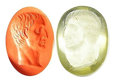Fabulous Georgian Tassie Roman Rock Crystal Intaglio Portrait of Julius Caesar