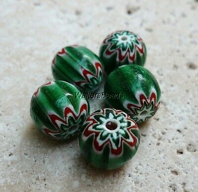 Chevron Vintage Stripe Trade Beads Green Red White Cylinder 10 MM (5)