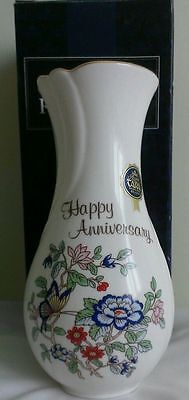 New Royal Tara Vase -Boxed -Happy Anniversary- Harmony Floral Pattern in Galway