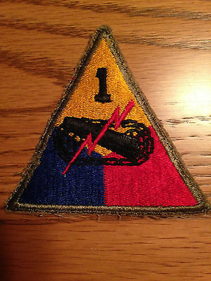 Original SUPER GREENBACK 1st Armored Division  patch from WW2 collection