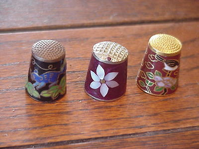 3 Collectible Thimbles Cloisonne and Inlaid, 2 floral with bird/mouse,1  inlaid