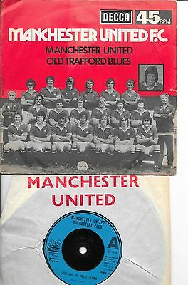 4 MAN MANCHESTER UNITED 45rpm SINGLE RECORDS 1976-1985 GLORY GLORY - WE ALL FOLL