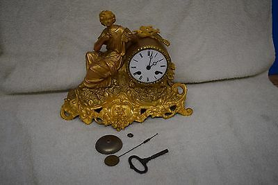 antique french ormolu clock silk suspension movement bell striker