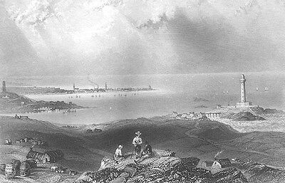 Aberdeenshire PETERHEAD LIGHTHOUSE HARBOR PIER PORT ~ 1840 Art Print Engraving
