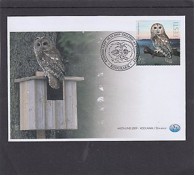 Estonia 2009 Owl First Day Cover FDC Tallin special h/s