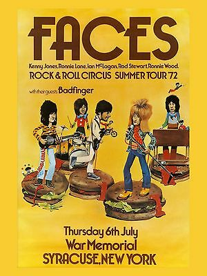 """The Faces New York 1972 16"""" x 12"""" Photo Repro Concert Poster"""