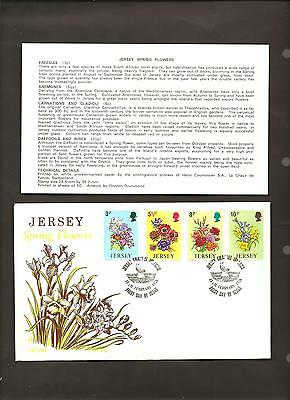 JERSEY SPRING FLOWERS POST DATED 13th FEBRUARY 1974 4 STAMPS