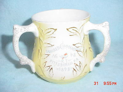 Antique  Masonic 3 Handled Cup 1898 Tancred Commandry Pittsburgh PA