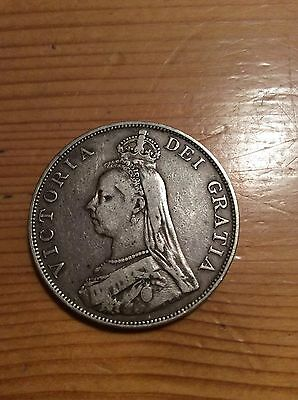1889 Double Florin Four Shilling Victoria British .925 Silver Coin  Inverted 1