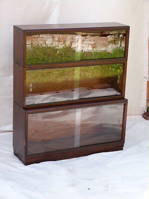 """Stunning Vintage Mahogany Three Tier Stackable Glazed Book Shelves By """"simplex""""."""