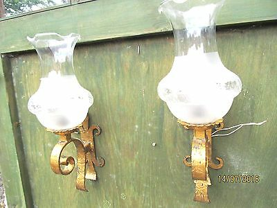 Antique French Iron Wall Lamps 1940  Stunning