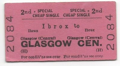 BR (H) Single Ticket Ibrox to Glasgow Central dated 1966