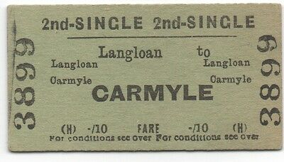BR (H) Single Ticket Langloan to Carmyle dated 1950's ex Caledonian Railway