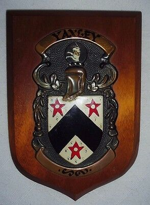 Vintage Heraldic 'yaxley' Family Wood And Copper Plaque Macaulay Mann Heraldry