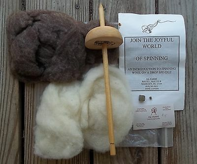 Vintage JAL Farms Spinning Kit Schacht Drop Whorl Spindle Ivory Brown Roving