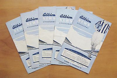 WEST BROMWICH ALBION Collection Of 5 Home Friendly Football Programmes 1957-1960