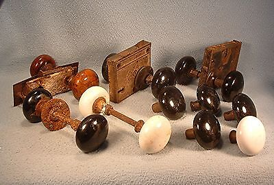 Lot of 15 Antique Porcelain Door Knobs White, Black, & Swirled Brown