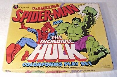 Colorforms Marvel Amazing Spider-Man & Incredible Hulk Playset Boxed Rare 1979