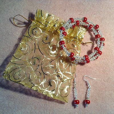 New Craft Clearout Handcrafted Bracelet / Earrings Set Red / Clear