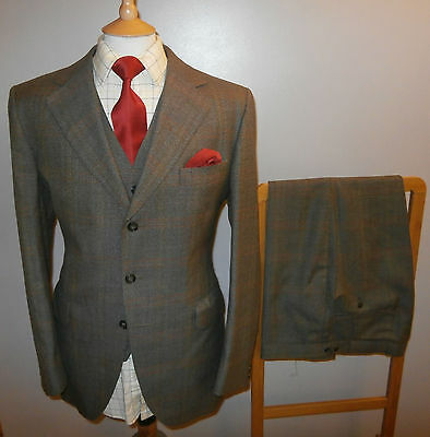 VINTAGE DUNN & CO 42R TWEED SUIT 3 PIECE JACKET TROUSERS WAISTCOAT Waist 36 L 31