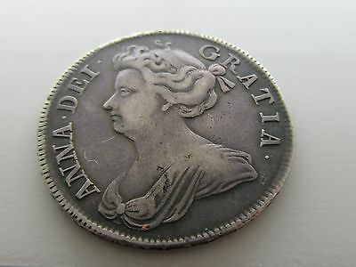 1708 Anne Silver Half Crown, Grade As Pictures.