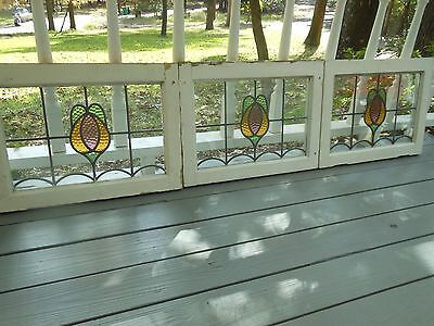MA8-292 Older Pretty Multi-Color English Leaded Stain Glass Window 5 Available
