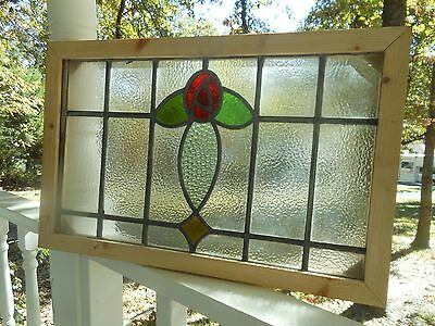 """SA156 Lovely Old """"English Rose"""" Leaded Stain Glass Window Reframed"""