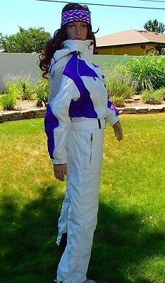 vtg 90's SEXY white & purple ski suit 1 piece snow onesie couloir womens medium