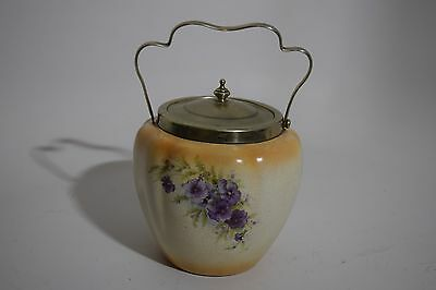 Antique Victorian England S&F Crown Mark Floral Biscuit Cookie Jar Royal Devon