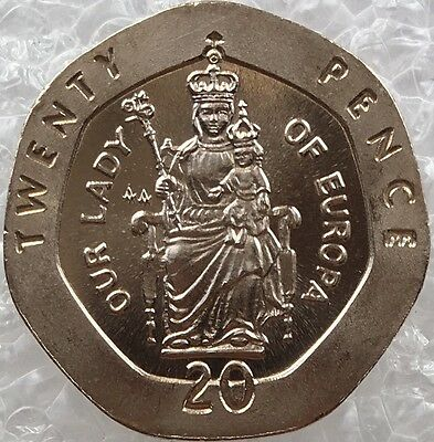1988 Twenty Pence 20p Gibraltar Coin Our Lady of Europa Unc Rare AA Die Mark