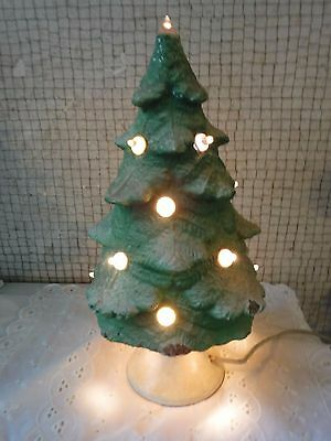 VINTAGE RARE #11 Glowlite Paper Mache Light Up Christmas Tree-1st Pat.# is 1934