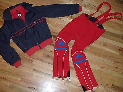 vtg 70s stretch padded flared ski bib pant + SERAC jacket suit 1 piece men small