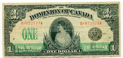 1917 Dominion of Canada One Dollar Note Princess Patricia  G-072577A