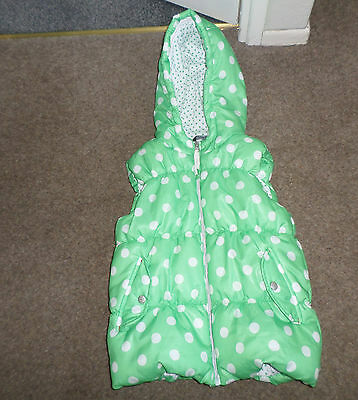 Girls Green With White Spots Gilet With Hood From George Age 11-12 Years