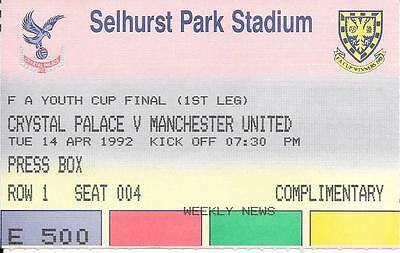 Ticket FA Youth Cup Final Crystal Palace v Manchester United 1992