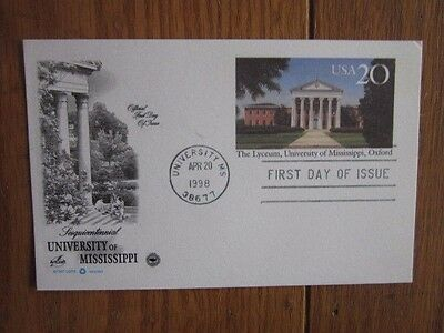 University Of Mississippi The Lyceum Oxford 1998  Pcs Cachet Fdc Card