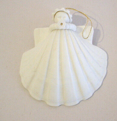 Margaret Furlong Shell Angel Blowing Horn 1980 Holiday Ornament White Porcelian