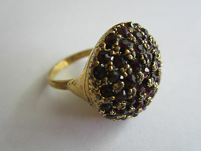Antique Vintage Ruby Red Rhinestone Ring dome shaped on gold tone