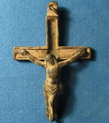 Old Circa 19 century CROSS Amulet with JESUS. Christian Pilgrim / Palmer Bronze