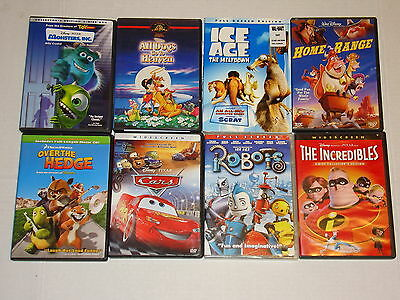 Lot 8 Animated Family Kids Movies Dvds Ice Age Cars Robots Incredibles Monsters