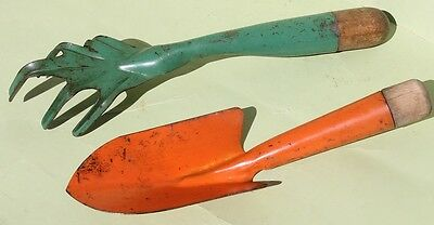 2 Colorful Vintage Garden Tools/Orange Hand Shovel + Green Hand Cultivator /NR!!