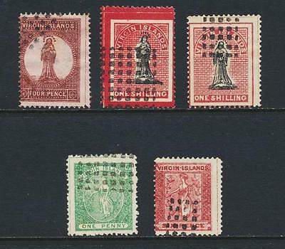 BRITISH VIRGIN IS 1867+ FORGERY GROUP (5) TO 1sh, VF USED