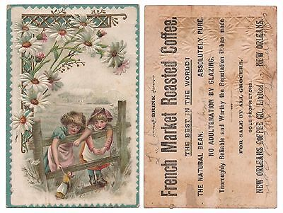 1890s NEW ORLEANS FRENCH MARKET ROASTED COFFEE Advertising Trade Post Card