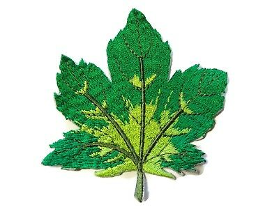 Green Brown Maple Leaf Embroidered Iron On Patch 3 Inch