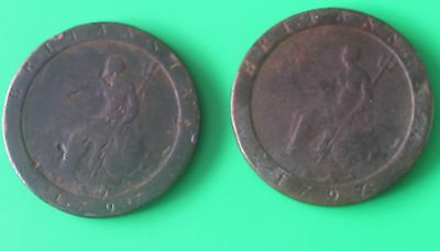 2x 1797 George !!! pennies - Decent collectable grades