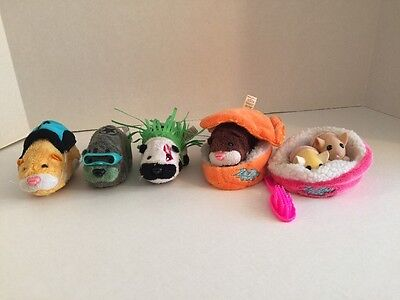 ZhuZhu Pets Lot of 4 Plus 2 Babies & Accessories 13 Items In Lot