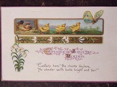 """""""Easter Joys Be Yours"""" Chicks Following Butterfly - Series No 517"""