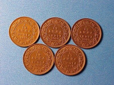 British India 1/12 Anna 1919 Group Of Five (5) Mostly Unc George V