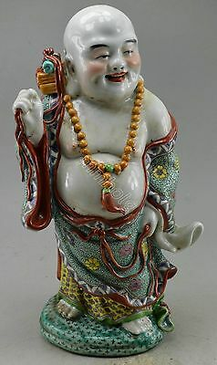 Collectible Decorate Colour Enamels Porcelain Drawing Flower Smile Buddha Statue