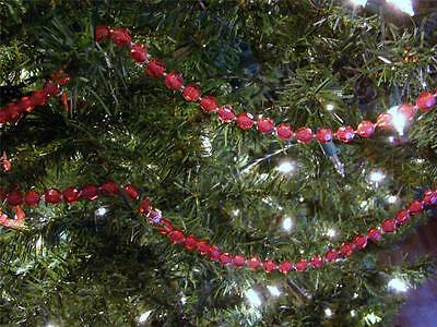 7Mm Faceted Clear Cranberry Bead Christmas Tree Garland~8 Feet~New